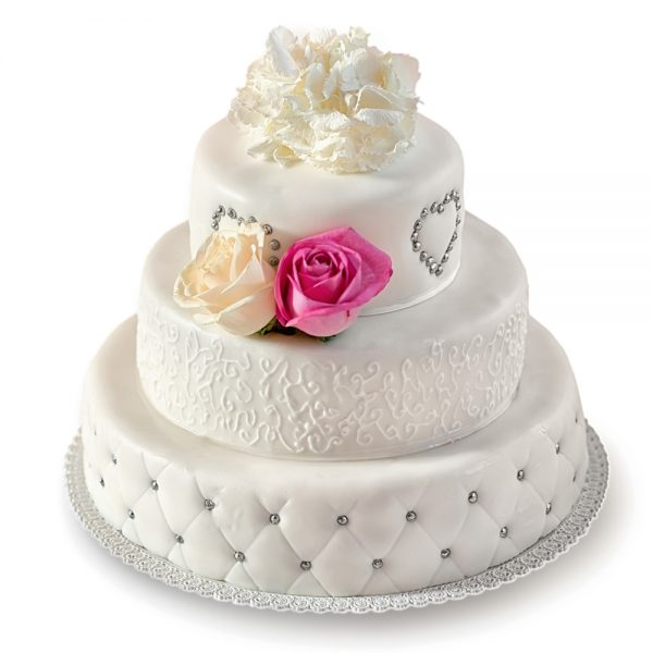 Exclusive White Art Cake with Roses, 3 tiered 1