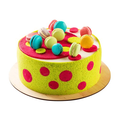 Colorful Cake with Macarons